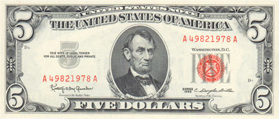 1963 $5 Legal Tender Star Notes FR 1536* Fine