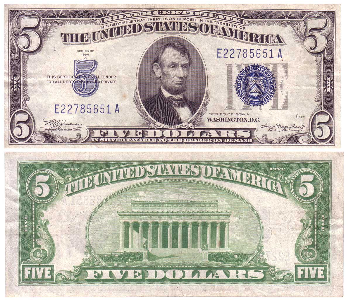 Clay irving collection mule notes obverse of series 1934a 5 silver certificate mule note xflitez Gallery