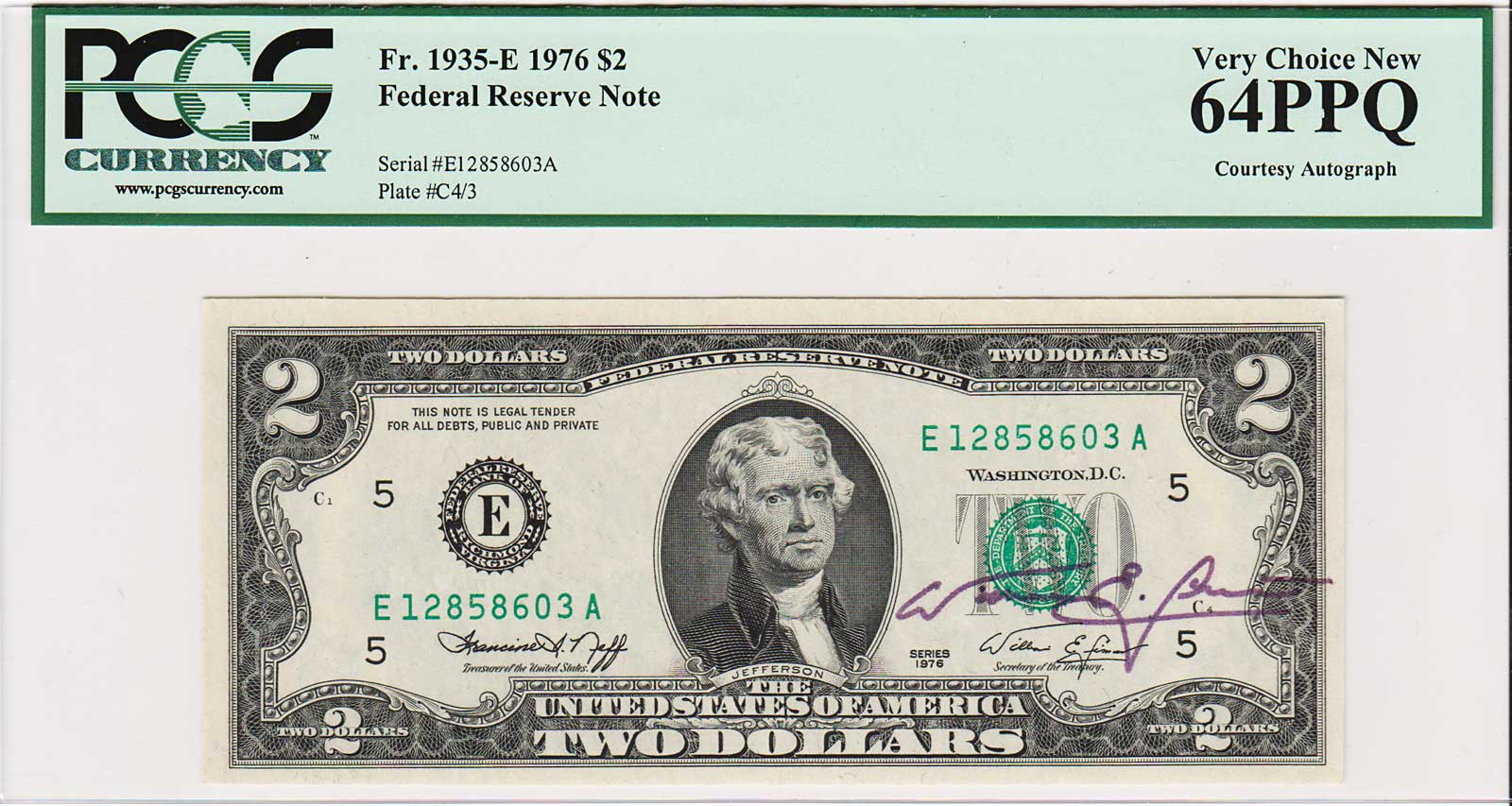 Two Dollar Bill USED Paper currency with G printing 2003 $2 Note CHICAGO