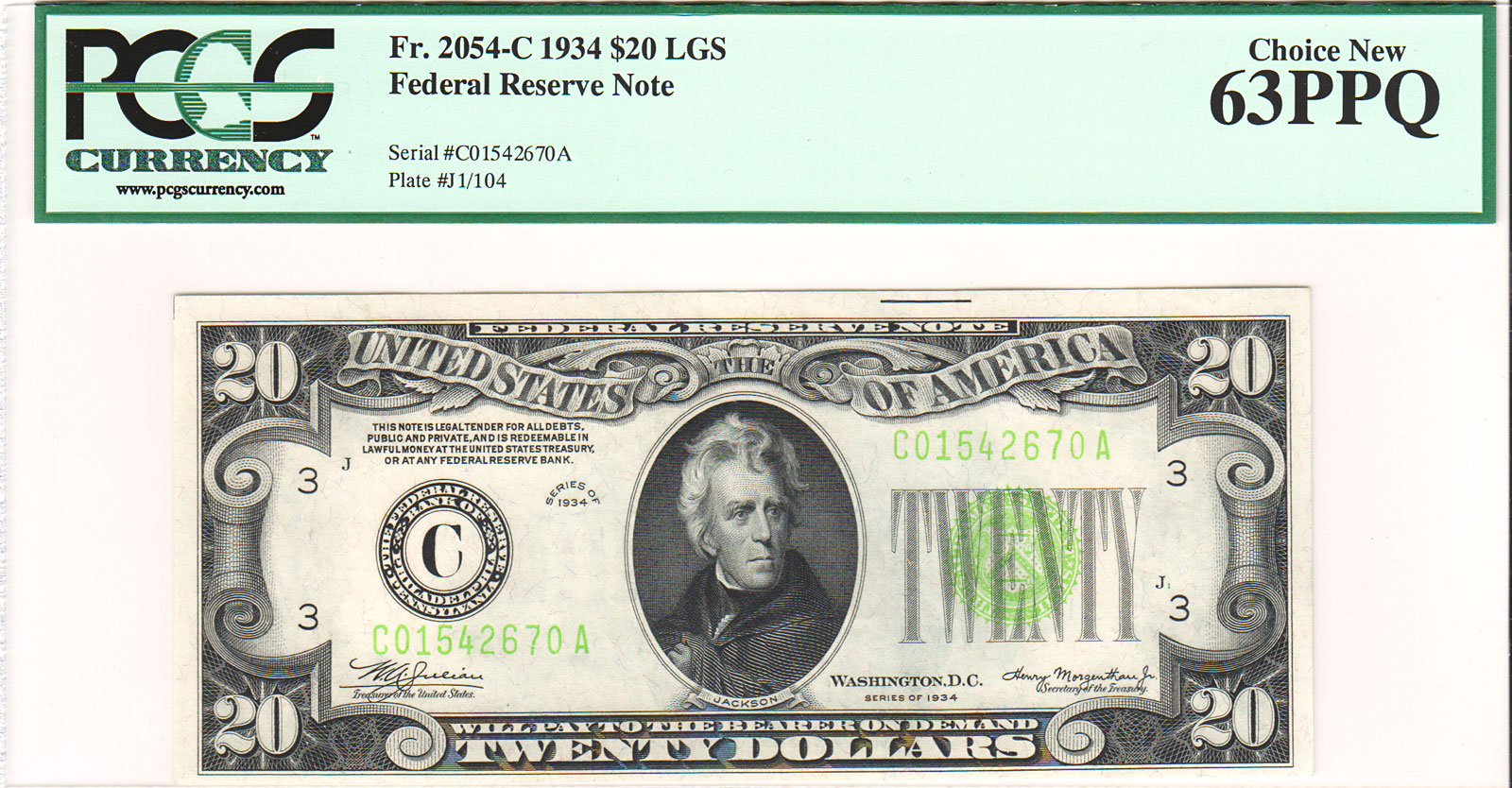 Early series 1934 20 federal reserve notes were printed with a dark