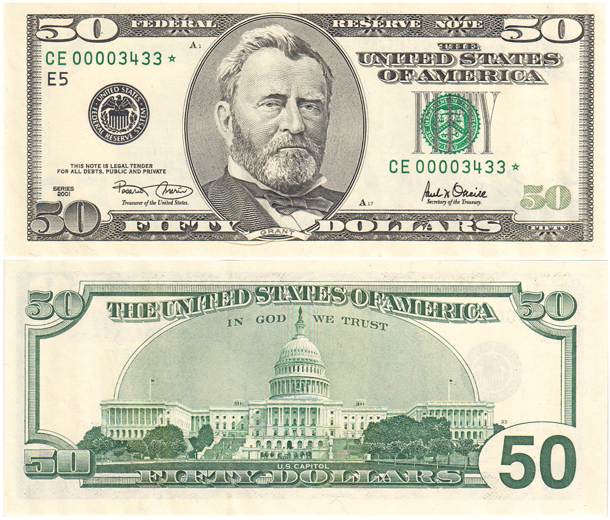 50 Dollar BillUS Dollar Bi...