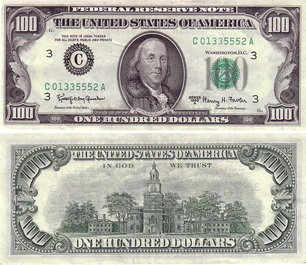 1977 100 dollar bill security features - Series 1969 Went Into Production In The Middle Of That Year Using The New 1969 Date Because The Modern English Language Treasury Seal Was Adopted For That