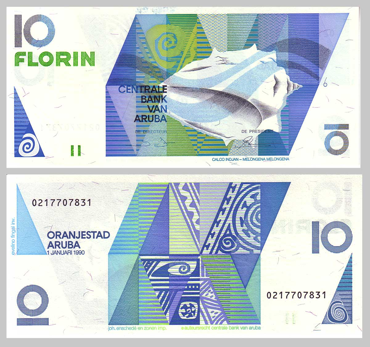 Pick 7 Centrale Bank Van Aruba 10 Florin Note 1990 Issue 01 January Obverse West Indian Crown Conch Melongena At Center Right