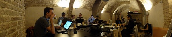 panorama shot of the Zaragoza hackfest room by Jason D. Clinton