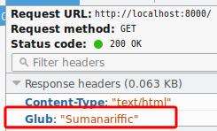 a bespoke header in an HTTP response