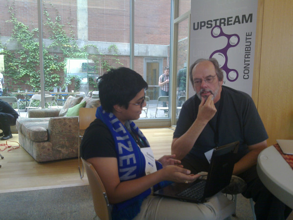 @brainwane (from Wikimedia) and @WardCunningham (inventor of wiki) talking at #osbridge 2011. #osb11 photo courtesy Josh Triplett