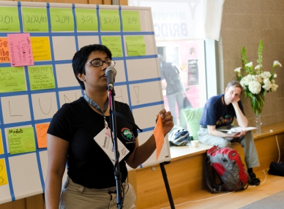 Sumana (publicizing a different talk) at OSBridge 2011, photo by Reid Beels CC BY-NC-SA