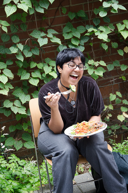 https://secure.flickr.com/photos/reidab/7674996428/ Woman laughing alone with salad, by reidab, CC BY-NC-SA