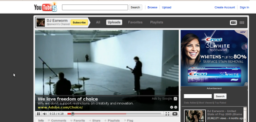 screenshot of YouTube page