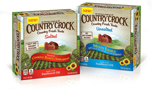 Country Crock's salted and unsalted margarine stick containers